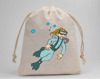 Scuba Diver, Scuba Diving, Birthday Party, Party Bags, Muslin Bags, Treat Bags, Favor Bags, Goodie Bags, 5x7, Drawstring Bags, Set of 5