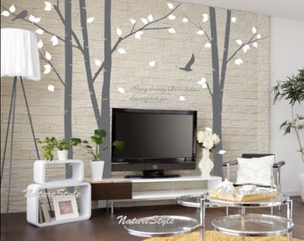 3 Birch Tree with Flying Birds-tree nursery wall decal birds wall decals nursery wall sticker children wall decals