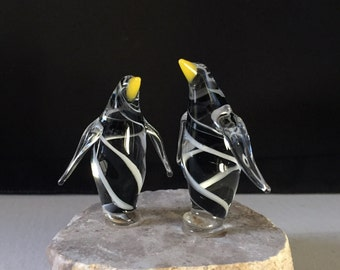 Handblown Glass Double Penguin Sculpture