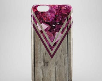 Pink Crystal Wood Chevron iPhone 8 Case, wood iphone 8 plus case, iPhone 8 covers, wood phone cases, hipster iPhone 8 case, iPhone x case