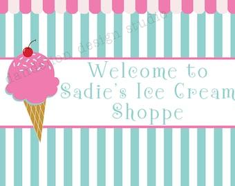 PRINTABLE Welcome Sign - Ice Cream Shoppe Party Collection - Dandelion Design Studio