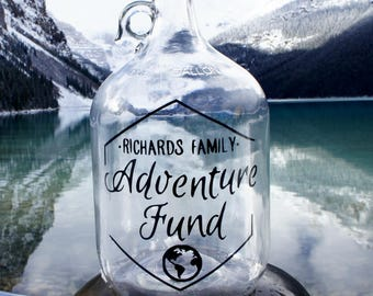 Adventure Fund Jar! Personalized! Adventure Awaits! Great mother's day gift, travel gift, anniversary gift, gift for boyfriend, gift for her