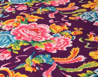 fabric vintage purple clothing peony furnishings 0.5m
