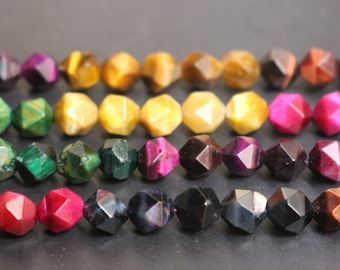 15 inches Full strand,Natural Multicolor Tigereye faceted nugget beads ,loose beads,semi-precious stone