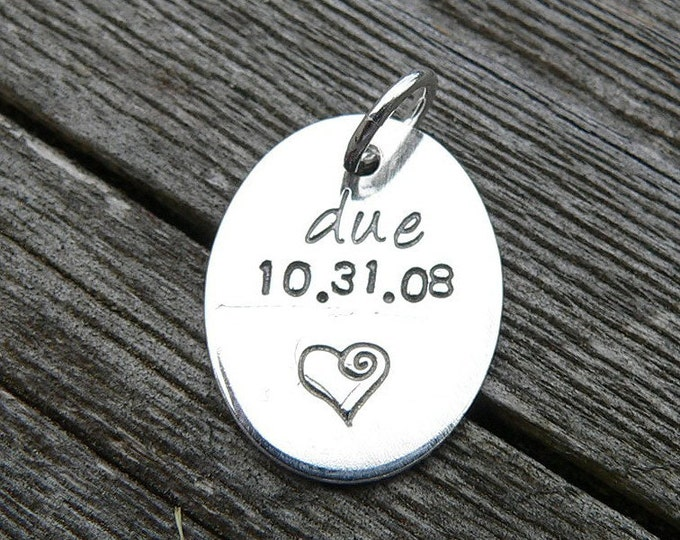 Add a Small Round Solid Sterling Silver or Oval Solid Sterling Silver Tag to Your Birth Designs Necklace or Bracelet - Your Choice of Font