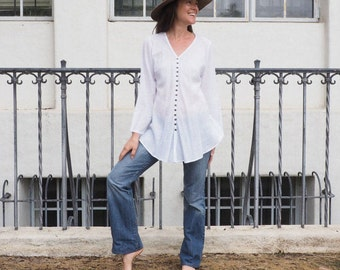 White Gauze Cotton Button-Down Top // Natural Fiber, Weightless, Breathable / A Classic!
