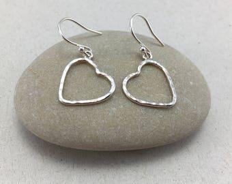 Silver Hearts Dangle Earrings, Silver Heart Earrings, Heart Drop Earrings, Silver Heart Dangle Earrings Silver Earrings, Love Earrings
