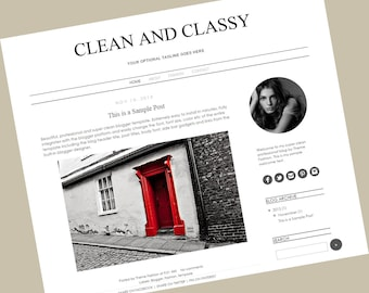 Blogger Template Premade Blog Theme Design - Clean And Classy