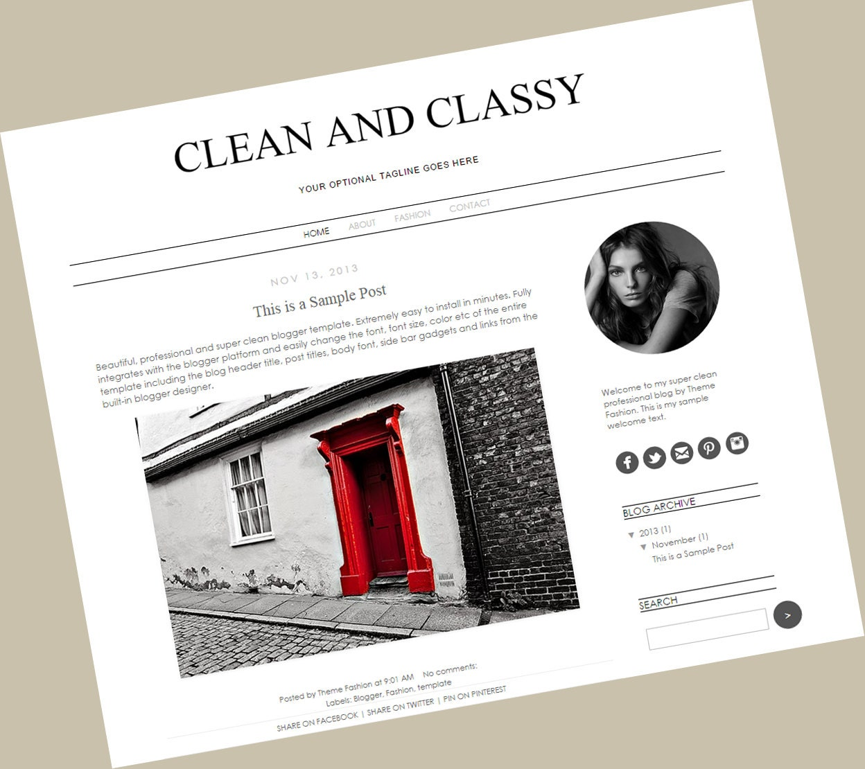 Blogger Template Premade Blog Theme Design Clean And Classy