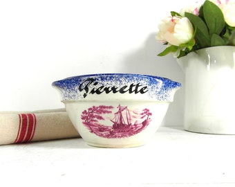 1 sarreguemines ceramic bowl, cafe au lait bowl, personalised bowl Pierrette, blue pottery bowl, French vintage, French country decor.