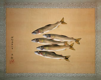 Japanese painting scroll depicting Ayu