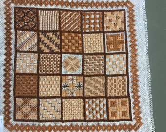 vintage needlepoint finished, retro decor,Sampler brown needlepoint abstract design 12 inches square,