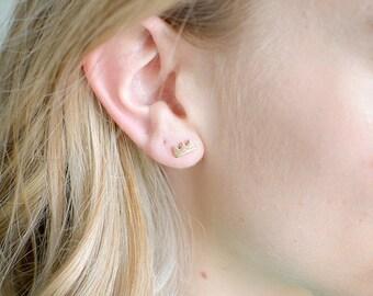 Tiny Crown Studs, Tiny Mountains, Stud Earrings, Geometric, Minimal, Simple, Crown, Zig Zag, Tiny, Dainty Earring, Gold Stud,