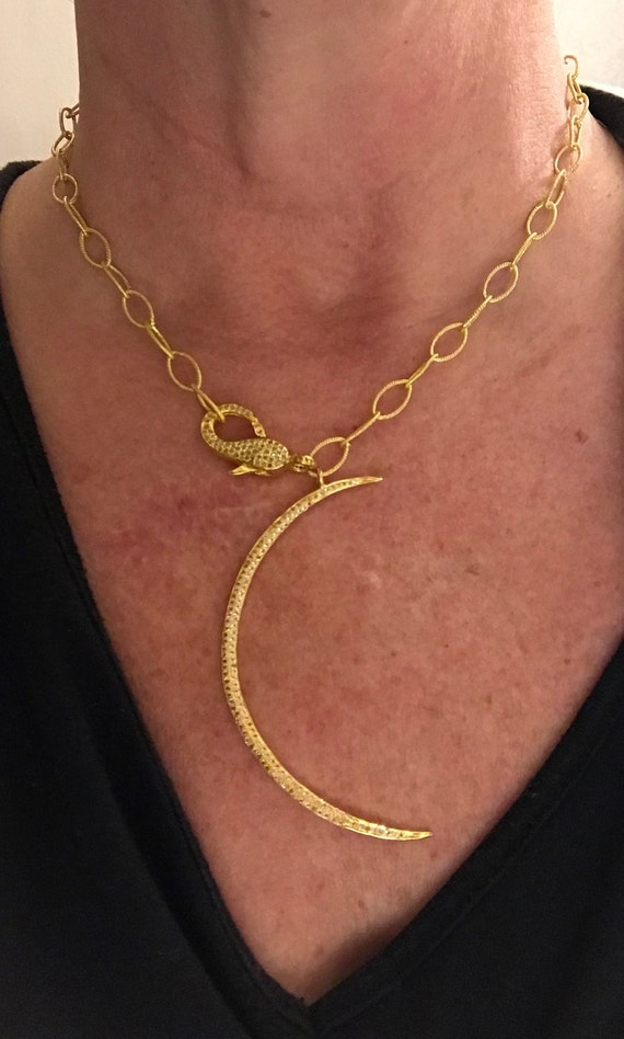 "Pendant Necklace, White Topaz Pave Moon Pendant, Pave Diamond Clasp, Gold Plate Sterling Silver Chain,Vermeil Pendant & Clasp,  22"" Long"