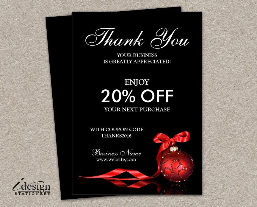 Elegant Christmas Shipping Insert Cards Printable Thank You
