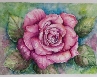 Gift ideas, Aquarelle roses, Wedding gift idea,  Anniversary gift, Watercolor flowers, Roses Painting, Watercolor roses, gift idea