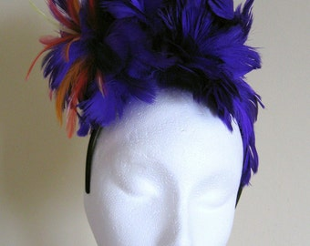 Purple feather fascinator with multi colour feather highlights handmade Wedding Races
