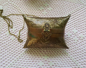 Sale ~~ Brass Copper Purse Metal Hinged Pillow Blue Purple Velvet Lining Box Clutch Clasp Chain Strap Evening Bag