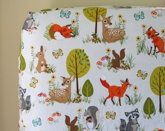 Woodland Baby Nursery Bedding, Crib Sheet, Changing Pad Cover, Forest Fellows Nature, Neutral Boy Girl, Fox Deer Bedding, Sea Urchin Studio