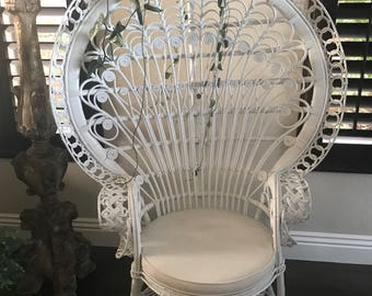 White Whicker Peacock Chair