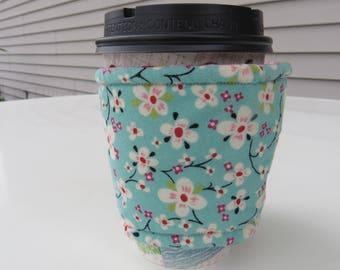 Handmade Coffee Cozy or Sleeve, Coffee Sleeve, Cup Sleeve, Flowers and Circles