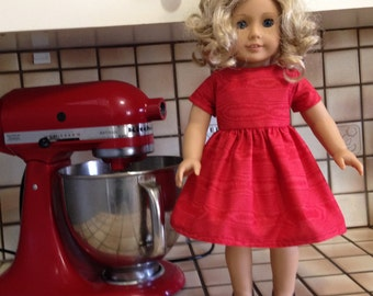 "American Girl or Other 18"" Doll  Red Dress"