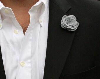 Wool Felt Flower Lapel Pin - Grey