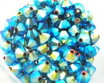 Lot 20 Jet AB2X Swarovski Crystal bicones - 4 mm
