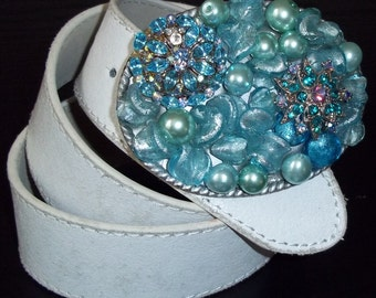 Carolina Blue Pearl and Vintage Crystal Belt Buckle