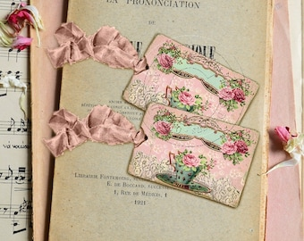 Shabby Chic Gift Tags - French style - Floral gift tags No 10 - Eco-friendly paper