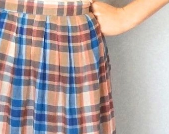 Vintage LOUISIANA Skirt • 1970s Clothing • Midi Plaid Checkered Sheer Calf Length High Waist Women Small Medium Light Blue Pink