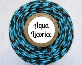 Aqua and Black Bakers Twine by Trendy Twine - Aqua Licorice - Packaging, Crafting, Decorating, Treats, Favors, Gift Wrapping - Cotton String