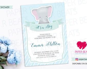 BABY SHOWER INVITATION - Little Elephant Baby Shower Invitation - Printable Baby Shower Invitation - Baby Boy