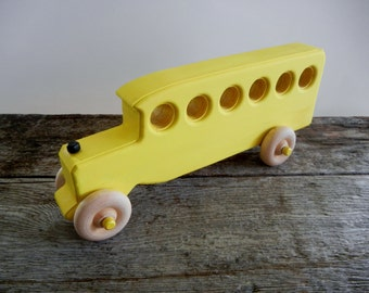 Toy Bus Wood-Handcrafted Wood Toy Bus-Push Pull Toy-Non Toxic Child Safe Paint