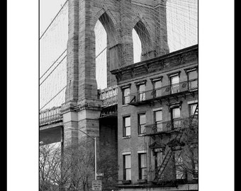 Brooklyn Bridges and Old Building, New York City, Fine Art Photography, Black and White.