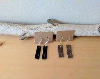 Leather Bar Earrings with Crescent Moon