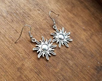 Silver sun charm earrings, sun dangle earrings