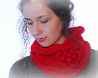 Neck warmer, crochet wool neck, knitted neck, flower neck warmer, red flower neck, women neck warmer, winter neck, Chrictmas gift