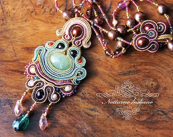 soutache necklace with aquamarine and freshwater pearls