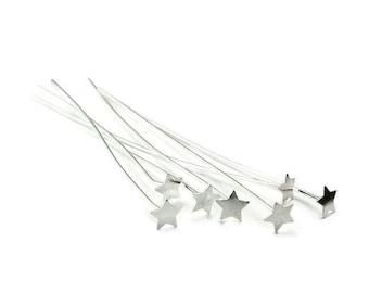 6 pcs AC0101 P08 925 Silver Star studs