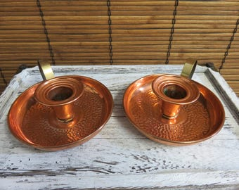 Vintage Coppercraft Guild Pair of Pebbled Texture Copper and Brass Handled Candlestick Holders Farmhouse Primitive