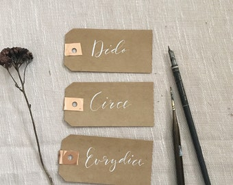 Kraft Rose Gold Tag Place Cards/ white calligraphy ink/ modern wedding/ wedding calligraphy/rustic wedding/rose gold wedding