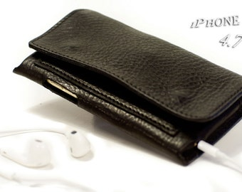 iPhone 6 leather wallet Genuine Leather Sleeve for use as a belt pouch banknote and cards col BLACK