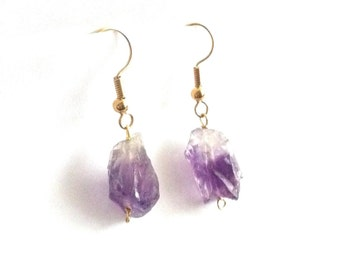 Raw Amethyst Earrings, Raw Gemstone Earrings, Raw Crystal Earrings, Amethyst Dangle Earrings, Amethyst Drop Earrings, February Birthstone
