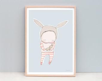 A3 Nursery Art Print - Nursery Decor Girl, Nursery Wall Decor, Girls Bedroom Art,  Cute Bunny Art, Light Blue, Sky Blue, Light Peach Version