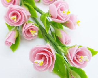 Pink Roses, Miniature Polymer Clay Flowers Supply for Dollhouse with set of leaves 6 Bunches