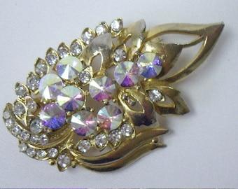 Vintage Aurora Borealis Rivoli Rhinestone Brooch Pin