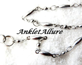 SIMPLE Silver Anklet Chain Ankle Bracelet BEACH PROOF Stainless Steel Anklet Choker Necklace Avail
