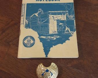 Vintage Cub Scout Neckerchief Slide / Cub Scout Leaders Program NoteBook 1950-51 / BSA