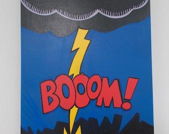 "Original Painting 1960s Pop Art/ Comic Style Red Yellow Blue 12"" X 16"" Lightning Strike"
